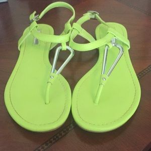 (EUC)BCBG Lime Green and Silver Sandals